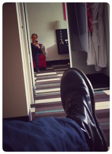 Selfie.  You can see my kilt in the closet; I wore it to dinner.  What's that on the bottom of my boot?